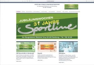 Screenshot der Internetseite sportline-hamburg.de